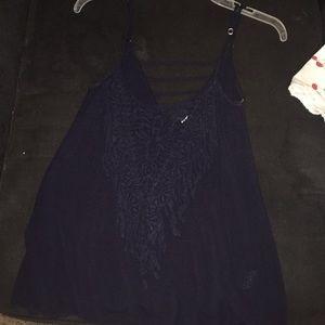 Blue lace tank top